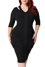 Womens Plus Size Waisted Pleated Half Sleeve Midi Dress Black