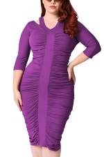 Womens Plus Size Waisted Pleated Half Sleeve Midi Dress Purple