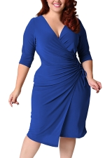 Womens Deep V-neck Plus Size Lacing Half Sleeve Midi Dress Blue