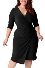 Womens Deep V-neck Plus Size Lacing Half Sleeve Midi Dress Black