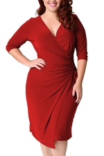 Womens Deep V-neck Plus Size Lacing Half Sleeve Midi Dress Red