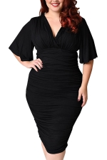 Womens Plus Size Deep V-neck Pleated Ruffle Sleeve Dress Black