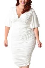 Womens Plus Size Deep V-neck Pleated Ruffle Sleeve Dress White