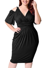 Womens Plus Size Cold Shoulder V-neck Waisted Midi Dress Black
