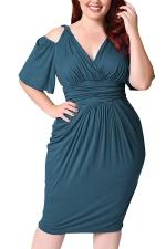 Womens Plus Size Cold Shoulder V-neck Waisted Midi Dress Turquoise