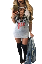 Womens Lace-up Plunging Neck Letter Printed Clubwear Dress Light Gray