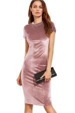 Womens Slimming Short Sleeve Plain Midi Bodycon Dress Pink