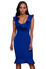 Womens Ruffled V Neck Sleeveless Midi Clubwear Dress Sapphire Blue