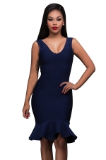 Womens V Neck Backless Ruffled Hem Midi Clubwear Dress Navy Blue