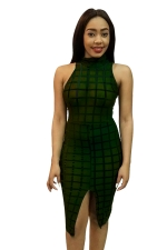 Womens Sheer Stand Collar Plaid Front Slit Clubwear Dress Green