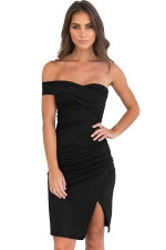 Womens Ruched Side Slit Backless Tube Clubwear Dress Black