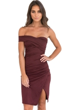 Womens Ruched Side Slit Backless Tube Clubwear Dress Dark Red