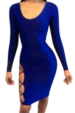 Womens Long Sleeve Lace-up Cut Out Back Clubwear Dress Sapphire Blue