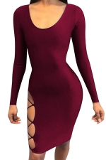 Womens Long Sleeve Backless Lace-up Cut Out Clubwear Dress Ruby