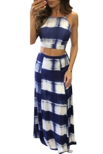 Womens Tie Dye Lace-up Top&High Waist Silt Maxi Skirt Suit Blue