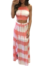 Womens Tie Dye Lace-up Top&High Waist Silt Maxi Skirt Suit Pink