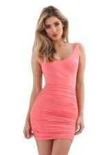 Womens Sexy Backless Deep V-neck Sleeveless Clubwear Dress Pink