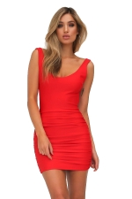 Womens Sexy Backless Deep V-neck Sleeveless Clubwear Dress Red