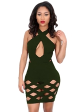 Womens Sexy Cross Collar Cut Out Clubwear Dress Army Green