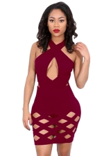 Womens Sexy Cross Collar Cut Out Clubwear Dress Ruby