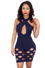Womens Sexy Cross Collar Cut Out Clubwear Dress Navy Blue