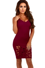 Womens Sexy V-neck Straps Cut Out Clubwear Dress Ruby