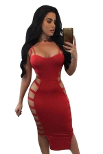 Womens Sexy Straps Cut Out Bandage Clubwear Dress Red