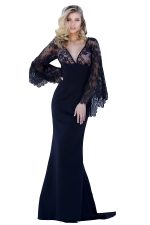 Womens Deep V Neck Lace Flare Sleeve Maxi Evening Dress Black