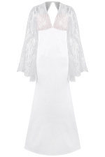 Womens Deep V Neck Lace Flare Sleeve Maxi Evening Dress White