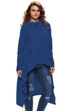 Womens Drawstring Irregular High Low Loose Long Sleeve Hoodie Blue