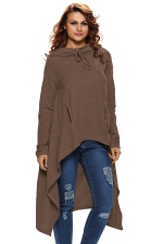 Womens Drawstring Irregular High Low Loose Long Sleeve Hoodie Brown
