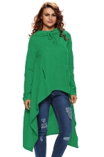 Womens Drawstring Irregular High Low Loose Long Sleeve Hoodie Green