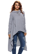 Womens Drawstring Irregular High Low Loose Long Sleeve Hoodie Gray