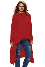 Womens Drawstring Irregular High Low Loose Long Sleeve Hoodie Red