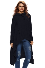 Womens Drawstring Irregular High Low Long Sleeve Hoodie Navy Blue