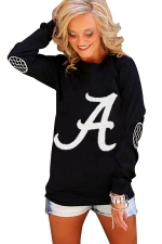 Womens Crewneck Letter Printed Long Sleeve Pullover Sweatshirt Black