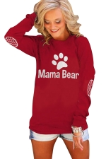 Womens Crewneck Bear Paw Printed Long Sleeve Pullover Sweatshirt Red