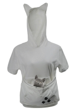 Womens Large Pocket Cat Printed Short Sleeve Hoodie Light Gray