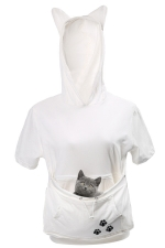 Womens Large Pocket Cat Printed Short Sleeve Hoodie White