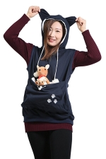 Womens Big Pocket Sleeveless Cat Ears Hoodie Navy Blue