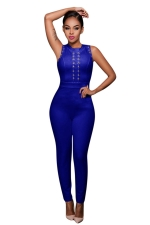 Womens Lace-up Hollow Out Zipper Back Jumpsuit Sapphire Blue