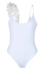 Womens One Side Flower Trim Plain Backless Bodysuit White