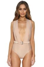 Womens Plunging Neck Backless Plain Belt Bodysuit Apricot