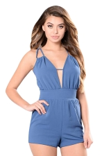 Womens Deep V Neck Strappy Backless Lace-up Plain Romper Blue