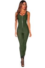 Womens Zipper Front Sleeveless High Waist Plain Catsuit Army Green