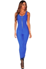 Womens Zipper Front Sleeveless High Waist Plain Catsuit Blue