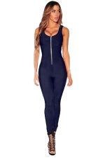 Womens Zipper Front Sleeveless High Waist Plain Catsuit Navy Blue