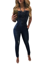 Womens Halter Bandeau Off Shoulder Denim Jumpsuit Navy Blue