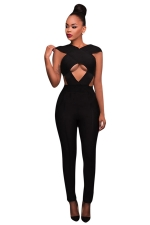 Womens Cut Out Bandage High Waist Plain Jumpsuit Black