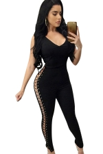 Womens Keyhole Crisscross Lace-up Sides Sleeveless Jumpsuit Black